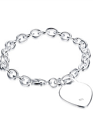 cheap -Women's Cubic Zirconia Chain Bracelet Love Ladies Cubic Zirconia Bracelet Jewelry Silver For Birthday Gift Daily / Silver Plated