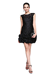 cheap -Sheath / Column Little Black Dress Cute Homecoming Cocktail Party Prom Dress Jewel Neck Sleeveless Short / Mini Lace with Flower 2020