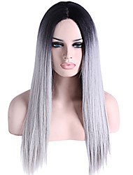 cheap -Synthetic Lace Front Wig Straight Synthetic Hair Natural Hairline Gray Wig Women's Lace Front