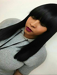 cheap -Remy Human Hair Glueless Lace Front Lace Front Wig style Straight Yaki Wig 130% Density Natural Hairline African American Wig 100% Hand Tied Women's Short Medium Length Long Human Hair Lace Wig