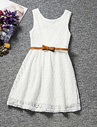 cheap -Kids Girls' Sweet Party Daily Birthday Solid Colored Lace Sleeveless Regular Regular Dress White