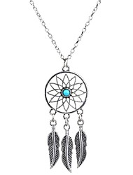 cheap -Women's Turquoise Pendant Necklace Y Necklace Tassel Fringe Leaf Wings Flower Dream Catcher Ladies Tassel Basic Bohemian Gold Plated Turquoise Alloy Silver Necklace Jewelry For Christmas Gifts Party