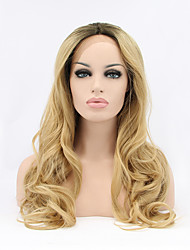 cheap -Synthetic Lace Front Wig Wavy Wavy Lace Front Wig Blonde Dark Blonde Synthetic Hair Women's Natural Hairline Blonde