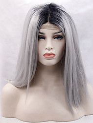 cheap -Synthetic Lace Front Wig Straight Straight Lace Front Wig Black / Grey Synthetic Hair Women's Natural Hairline Gray