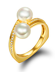 cheap -Women's Ring Engagement Ring Pearl Golden 18K Gold Plated Pearl Imitation Pearl Wedding Party Jewelry