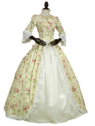 cheap -Rococo Victorian Costume Women's Dress Party Costume Masquerade Ivory Vintage Cosplay Lace Cotton Floor Length Long Length Halloween Costumes / Floral