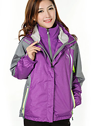 cheap -Women's Hiking 3-in-1 Jackets Winter Outdoor Thermal / Warm Waterproof Windproof Fleece Lining Fleece Tracksuit 3-in-1 Jacket Coverall Skiing Camping / Hiking Leisure Sports Arm Green Fuchsia Orange