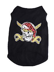 cheap -Dog Shirt / T-Shirt Dog Clothes Skull Black Cotton Costume For Spring &  Fall Summer Men's Women's Fashion