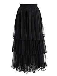 abordables -Femme Tutu Quotidien Balançoire Jupes - Couleur Pleine Maille / Long Noir Beige