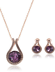 cheap -Women's Synthetic Amethyst Amethyst Jewelry Set Round Cut Drop Ladies Crystal Earrings Jewelry Purple For Wedding Party 2pcs / Necklace