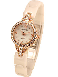cheap -Women's Fashion Watch Dress Watch Simulated Diamond Watch Quartz Ceramic White Imitation Diamond Analog Rose Gold