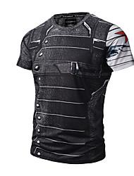 cheap -Men's Daily Active / Punk & Gothic T-shirt Print Round Neck Black / Short Sleeve / Summer