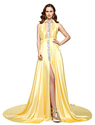 cheap -A-Line Celebrity Style Furcal Formal Evening Dress Halter Neck Sleeveless Floor Length Chiffon Satin with Sash / Ribbon Pleats Beading 2020