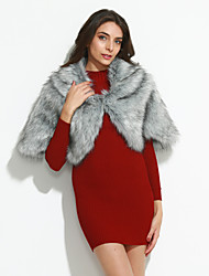 cheap -Women's Going out Fashion Spring &  Fall / Winter Cloak / Capes, Solid Colored Faux Fur Silver