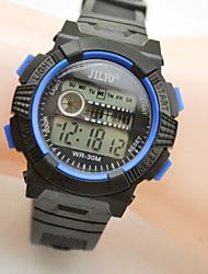 Недорогие -Спортивные часы электронные часы Кварцевый Цифровой Кожа Черный Календарь Фосфоресцирующий Цифровой Желтый Красный Синий