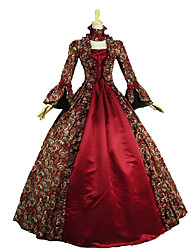 cheap -Rococo Victorian Vintage Inspired Medieval Renaissance Dress Women's Lace Cotton Costume Red Vintage Cosplay Party Prom Long Sleeve Floor Length Long Length Plus Size Customized / Floral
