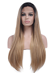 cheap -Synthetic Lace Front Wig Straight Kardashian Style Lace Front Wig Black Black / Strawberry Blonde Synthetic Hair Women's Ombre Hair / Dark Roots / Natural Hairline Black Wig Long