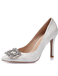 cheap -Women's Heels Glitter Crystal Sequined Jeweled Stiletto Heel Pointed Toe Closed Toe Wedding Dress Party & Evening Glitter Leatherette Rhinestone Crystal Summer White Black Gold / EU37