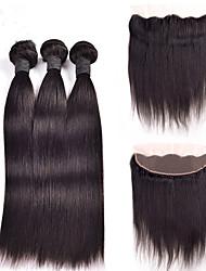 cheap -4 Bundles Peruvian Hair Straight Natural Color Hair Weaves / Hair Bulk Human Hair Weaves Human Hair Extensions / 8A