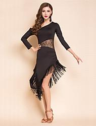 cheap -Latin Dance Dresses Women's Performance Spandex / Milk Fiber Lace / Tassel 3/4 Length Sleeve Natural Dress