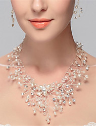cheap -Women's Synthetic Diamond Beaded Necklace Y Necklace Flower Luxury Tassel Pearl Imitation Pearl Rhinestone White Necklace Jewelry For Wedding Party Birthday Party / Evening Engagement Daily