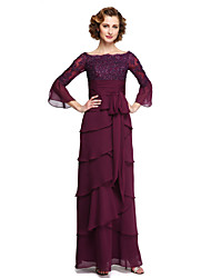 cheap -A-Line Bateau Neck Ankle Length Chiffon / Lace Half Sleeve Elegant Mother of the Bride Dress with Sequin / Appliques / Sash / Ribbon 2020 / Bell Sleeve