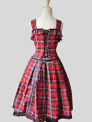 cheap -Princess Sweet Lolita Dress Women's Girls' Cotton Japanese Cosplay Costumes Red Plaid Sleeveless Knee Length