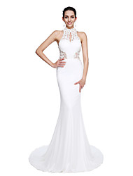 cheap -Mermaid / Trumpet Illusion Neck Court Train Jersey Chinese Style / Beautiful Back / Keyhole Prom / Formal Evening Dress 2020 with Beading / Appliques