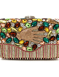 cheap -Women's Bags Metal Evening Bag Crystal / Rhinestone Floral Print for Wedding / Party / Event / Party Blue / Gold / Rhinestone Crystal Evening Bags