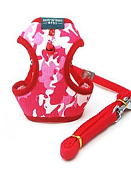 cheap -Dog Harness Adjustable / Retractable Safety Camo / Camouflage Nylon Red
