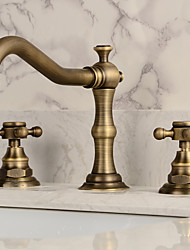 cheap -Two Handles Bathroom Faucet, Antique Brass Three Holes Widespread/Centerset Bath Taps, Brass Bathroom Sink Faucet Contain with Cold and Hot Water