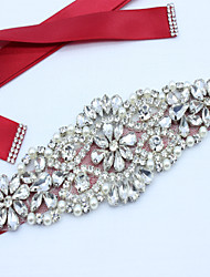 cheap -Satin Wedding / Party / Evening / Dailywear Sash With Rhinestone / Imitation Pearl / Beading Women's Sashes / Appliques