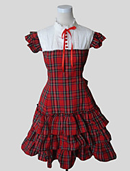 cheap -Princess Sweet Lolita Dress Women's Girls' Cotton Japanese Cosplay Costumes Plaid Short Sleeve Knee Length