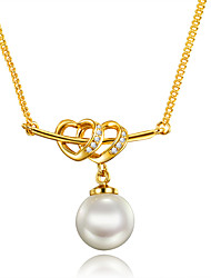 cheap -Women's Pearl AAA Cubic Zirconia Pendant Necklace Heart Unique Design Heart Euramerican Pearl Gold Plated 18K Gold Gold Necklace Jewelry For Christmas Gifts Wedding Party Birthday Engagement Daily