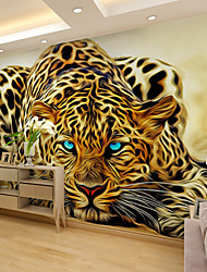 cheap -Mural Wallpaper Wall Sticker Covering Print Adhesive Required 3D Effect Leopord Animal Canvas Home Décor