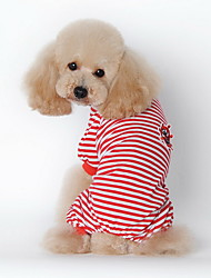 cheap -Dog Pajamas Dog Clothes Stripes Black Red Blue Cotton Costume For Spring &  Fall Winter Men's Women's Casual / Daily