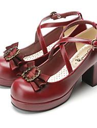 cheap -Women's Lolita Shoes Sweet Lolita Gothic Lolita Classic Lolita High Heel Bow Bowknot 7.5 cm Black Brown White Microfiber Halloween Costumes / Punk Lolita / Princess Lolita / Wa Lolita