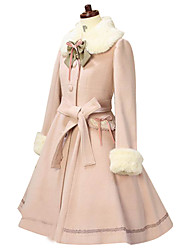 cheap -Princess Lolita Fur Trim Girly Winter Coat Women's Girls' Lace Cotton Japanese Cosplay Costumes Solid Colored Long Sleeve Above Knee Medium Length