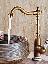 cheap -Single Handle Bathroom Faucet, Antique Copper One Hole Centerset Bath Taps, Brass Contemporary/COD Bathroom Sink Faucet Contain with Supply Lines