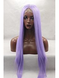 cheap -Synthetic Lace Front Wig Straight Straight Lace Front Wig Long Purple Synthetic Hair Women's Natural Hairline Middle Part Purple