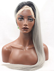 cheap -Synthetic Lace Front Wig Straight Straight Lace Front Wig Grey Synthetic Hair Women's Natural Hairline Gray