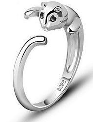 cheap -Women's Ring thumb ring Pussy Rings Silver Sterling Silver Alloy Ladies Open Daily Casual Jewelry Cat Animal Adjustable
