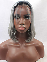 cheap -Synthetic Lace Front Wig Straight Straight Bob Lace Front Wig Grey Synthetic Hair Women's Middle Part Bob Natural Hairline Gray