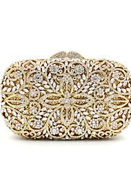 cheap -Women's Crystal / Rhinestone Metal Evening Bag Wedding Bags Floral Print Gold