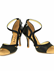 cheap -Women's Dance Shoes Leather / Leatherette Latin Shoes / Salsa Shoes Buckle / Ribbon Tie Sandal / Heel Customized Heel Customizable Black / Yellow / Red / Performance / Professional / EU38