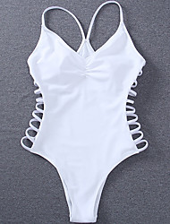 abordables -Femme A Bretelles Blanc Slip Brésilien Une-pièce Maillots de Bain - Couleur Pleine Lacet S M L Blanc / Super sexy