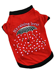 cheap -Dog Shirt / T-Shirt Dog Clothes Red Pink Costume Cotton Letter & Number Casual / Daily XS S M L