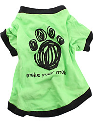 cheap -Dog Shirt / T-Shirt Dog Clothes Letter & Number Green Blue Cotton Costume For Spring &  Fall Summer Men's Women's Casual / Daily