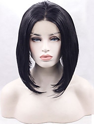 cheap -Synthetic Lace Front Wig Straight Straight Bob Wig Black#1B Synthetic Hair Women's Middle Part Bob Natural Hairline Black