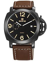 cheap -Men's Wrist Watch Quartz Leather Black / Brown 30 m Water Resistant / Waterproof Calendar / date / day Cool Analog Fashion - Coffee Black / Brown Brown